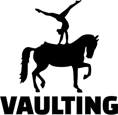 vaulting: Horse Vaulting silhouette with word Illustration