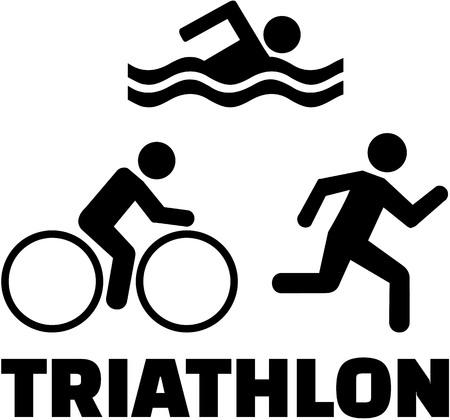 Triathlon icons with word 向量圖像