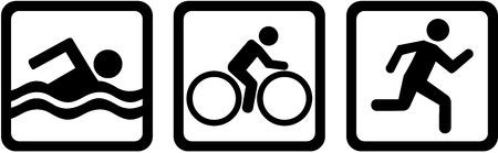 silueta ciclista: Triple triatlón de natación funcionamiento de la bici