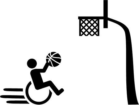 rehab: Wheelchair basketball with basket pictogram Illustration