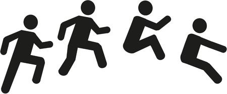 Pictograma de triple salto Dreisprung Ilustración de vector