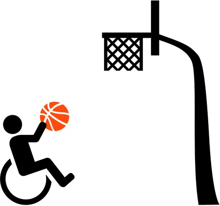 rehab: Wheelchair basketball with basket icon Illustration