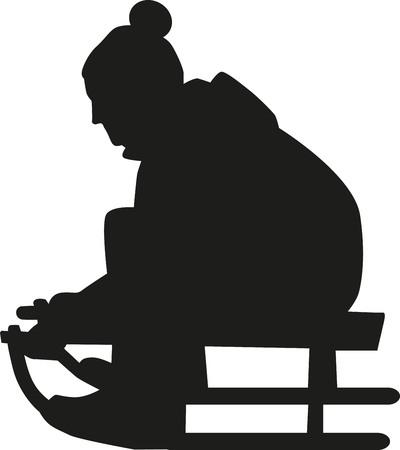 toboggan: Sledging silhouette