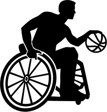 Silueta de baloncesto en silla de ruedas Ilustración de vector