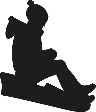 sledging: Boy on a sled sledding Illustration