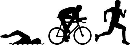 Triathlon silhouettes Vettoriali