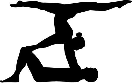 Akrobatyka sylwetka mężczyzny i kobiety