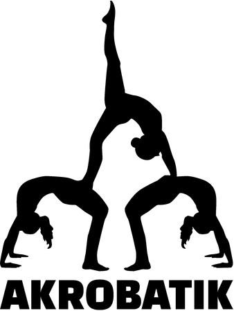 acrobatics: Acrobatics silhouette with german word Illustration