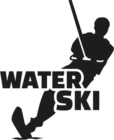 Water ski silhouette with word