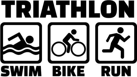 Triatlón con iconos de pictograma