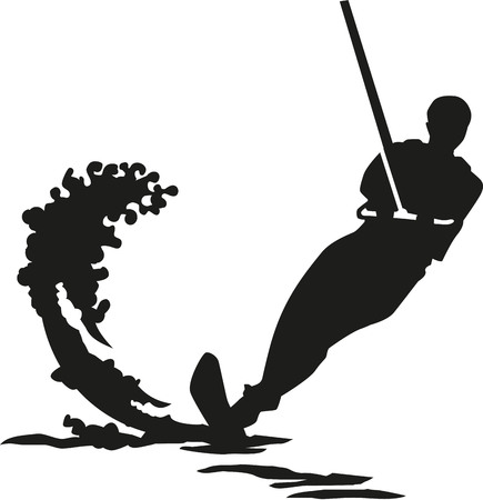 Water ski silhouette with wave