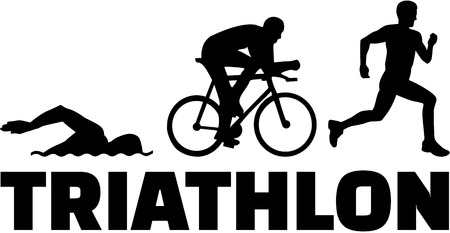 cyclist silhouette: Triathlon silhouettes with word