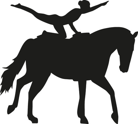 vaulting: Vaulting woman on a horse Illustration