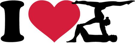 acrobatics: I love Acrobatics silhouettes Illustration