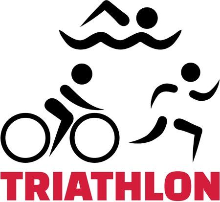 símbolos de triatlón con la palabra
