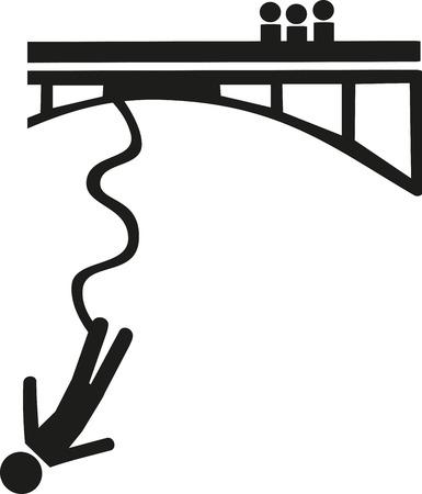 bungee jumping: Bungee s�mbolo de salto Vectores