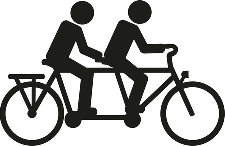 silueta ciclista: Tandem pictograma de la bicicleta Vectores