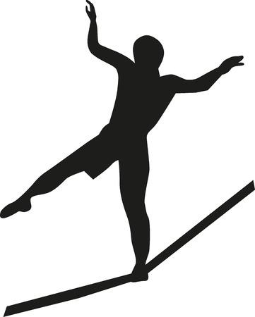 tightrope walker: Slackline silhouette