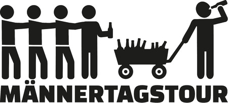 handcart: Fathers day tour with handcart and beer german Illustration