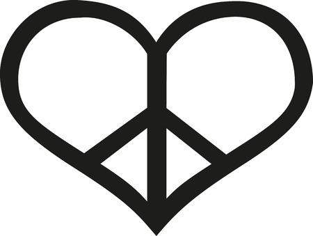 heart sign: Peace sign in heart shape Illustration
