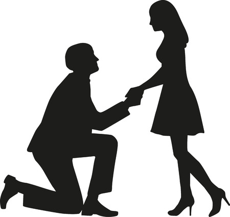 Proposal man on knees asking his wife to marry him Illustration