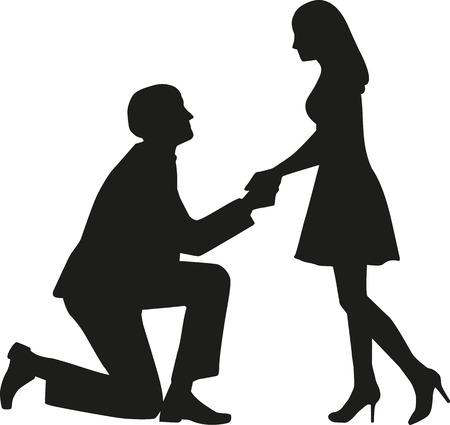 Voorstel man op de knieën te vragen zijn vrouw met hem te trouwen Stock Illustratie