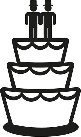 wedding cake: Gay wedding cake Illustration