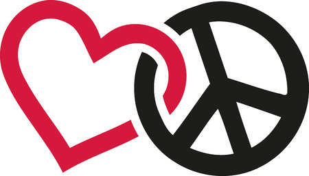 Love and peace signs intertwined
