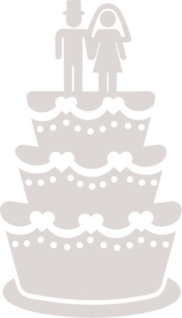 wedding cake: Icon of a white wedding cake