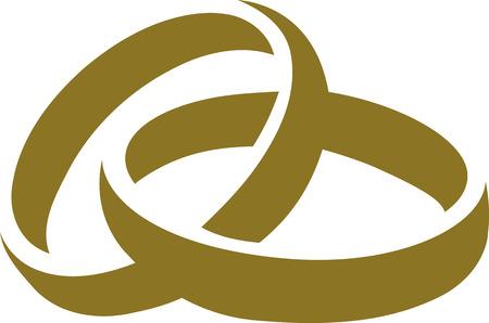 Icon goldene Hochzeit Ringe Standard-Bild - 53112701