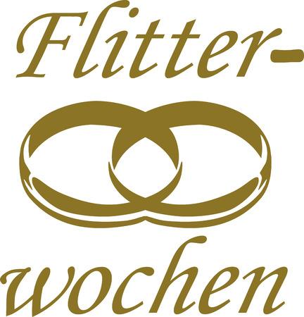 honeymoon: Honeymoon word with wedding rings - german Illustration