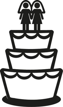 wedding cake: Lesbian wedding cake Illustration