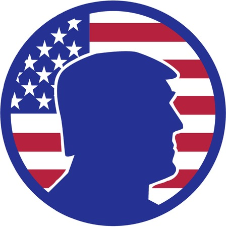 trump: Election candidate silhouette in front of USA flag batch