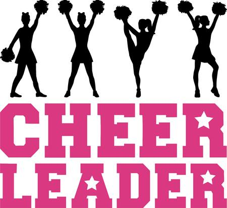 Cheerleader word with silhouettes