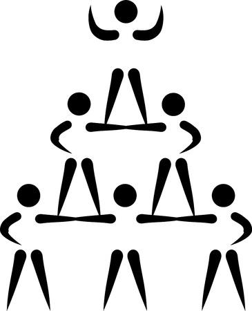 cheerleading: Cheerleading pyramid pictogram Illustration