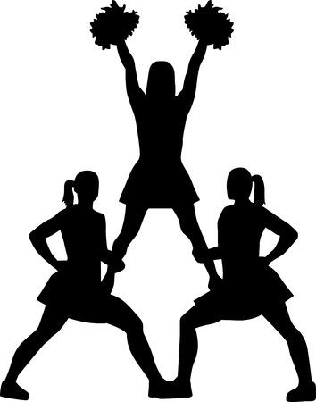cheer leader: Cheerleading pyramid silhouette