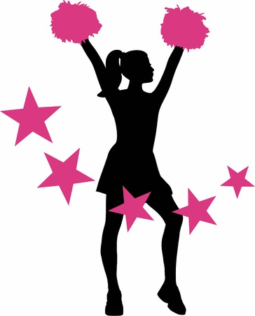pom pom: Cheerleader with pink stars
