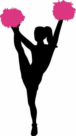 cheer leader: Silhouette of cheeerleading girl