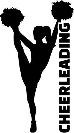 Cheerleader with word cheerleading Illustration