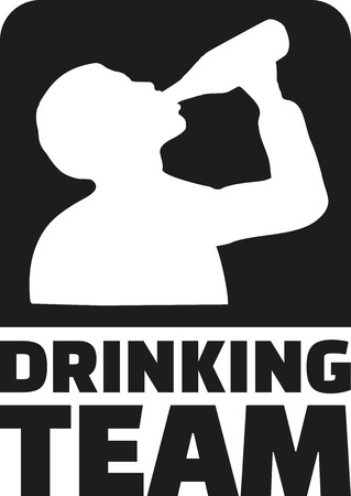 alcoholism: Drinking Team emblem with silhouette of drinking man