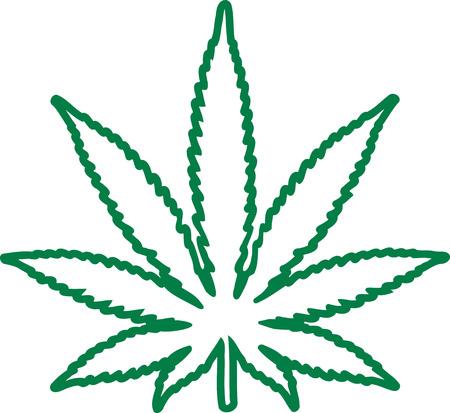 Marijuana leaf outline Illustration