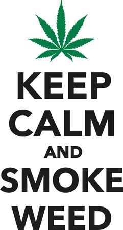 Keep calm and smoke weed marijuana Illustration