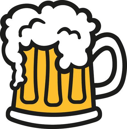 Beer mug cartoon with foam