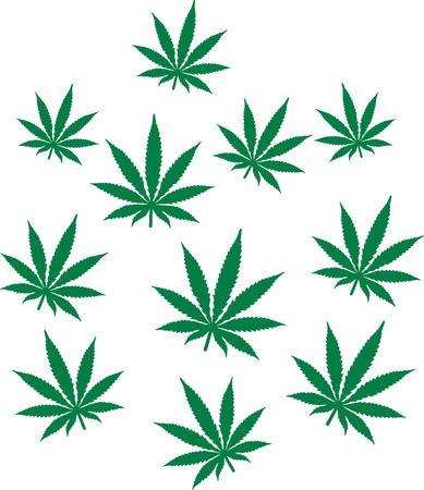 Marijuana pattern hemp leafs