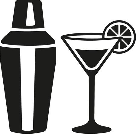 martini shaker: Cocktail martini glass with shaker Illustration