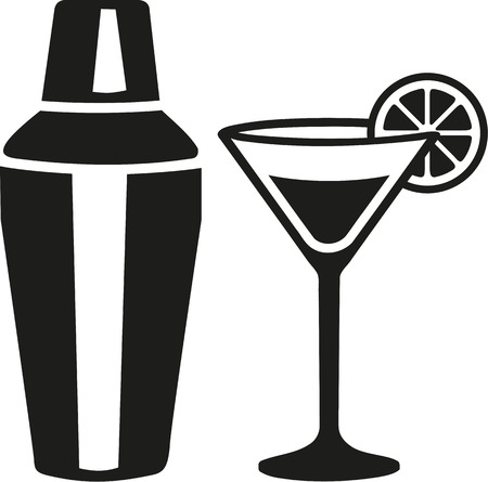 Cocktail martini glass with shaker Vectores