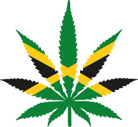 jamaica: Marijuana leaf with jamaica flag