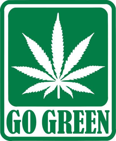 batch: Go Green batch with Marijuana leaf Illustration