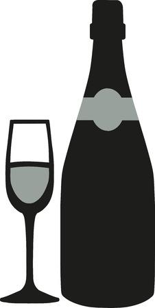glas sekt: Sektflasche mit Glas