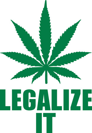 legalize: Marijuana leaf with slogan - Legalize it